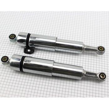 Амортизатор задний JH/CB/CG - 335мм*d55мм (втулка 12мм / втулка 10мм) закрытий регулир., хром к-кт 2шт