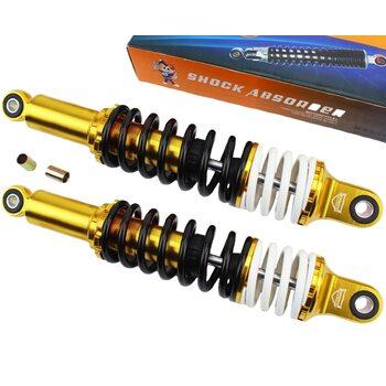 Амортизатор задний JH/CB/CG - 335мм*d60мм (втулка 12мм / втулка 10мм) с двойной пружиной регулир., черный (корпус желтый) к-кт 2шт