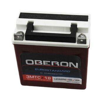 """Аккумулятор 6V/18Аh, 3МТС-18 (кислотный, сухой, плоская клема) 140/75/140мм, МТ,ИЖ, """"OBERON"""", 2019"""